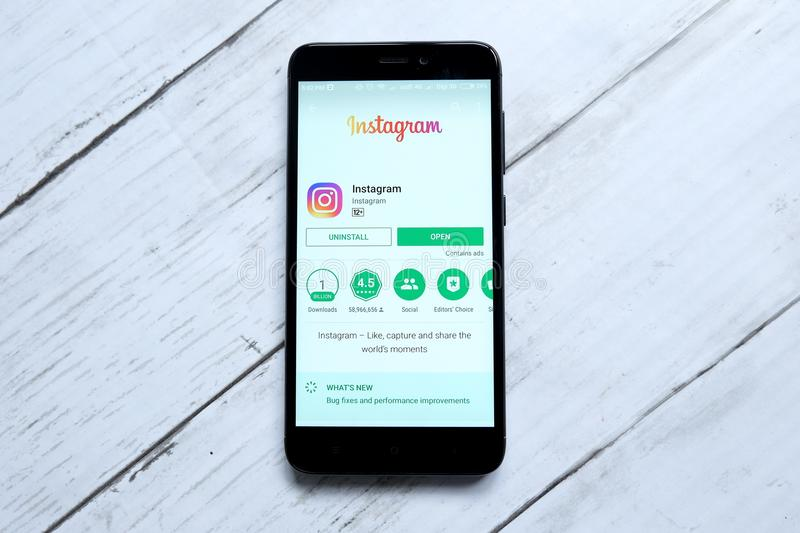 KUALA LUMPUR,MALAYSIA - JANUARY 28TH,2018:Instagram app on android Play Store.Instagram created by Kevin Systrom and Mike Krieger,. And launched in October 2010 stock photography