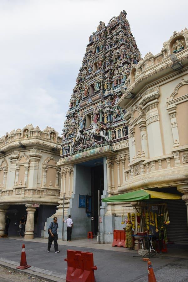 Kuala Lumpur Malaysia - Juli 18, 2018: Sri Mahamariamman hinduisk tempel i Kuala Lumpur royaltyfri bild