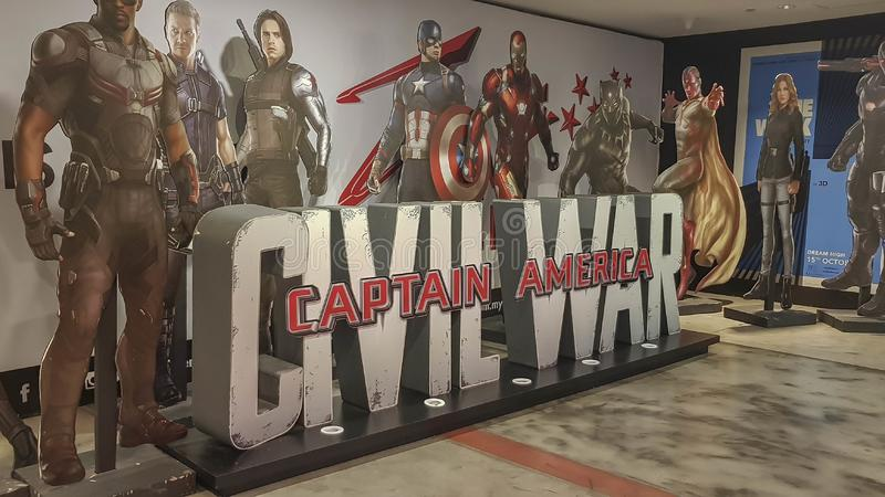 Captain America Civil War movie poster at the cinema royalty free stock photography