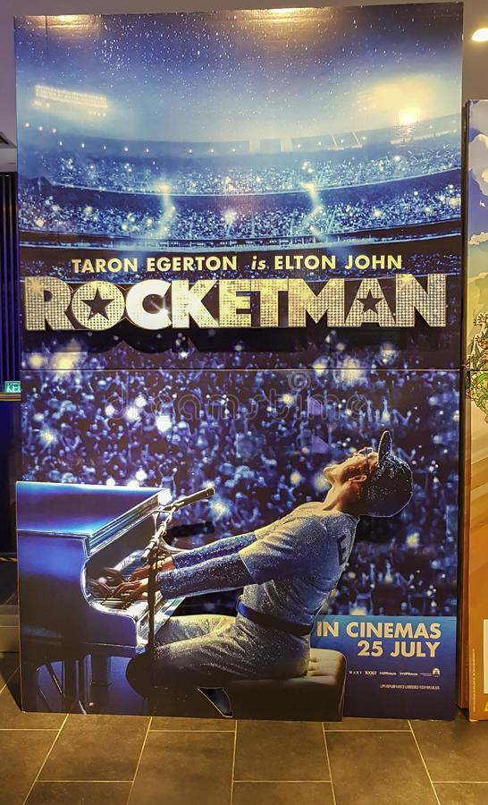Rocketman movie poster, Rocketman is a biographical musical film based on the life of musician Elton John stock photo