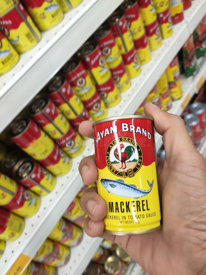 Sardine fish in a can. KUALA LUMPUR, MALAYSIA -JULY 07, 2019: Sardine fish in a can. This food has been processed and stored in the can to extend its life stock photo
