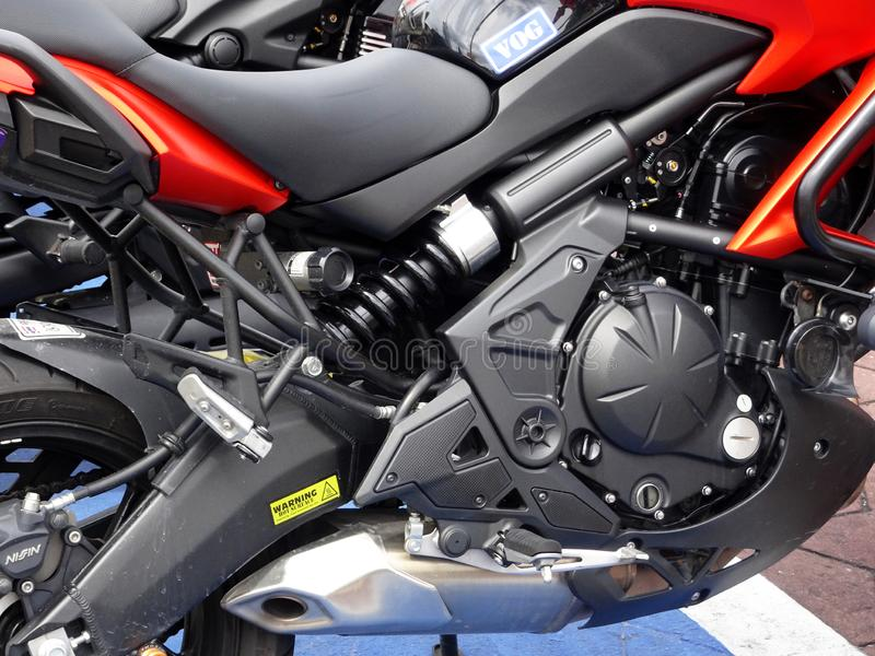 Selective focused on a high performance motorcycle engine. royalty free stock photo
