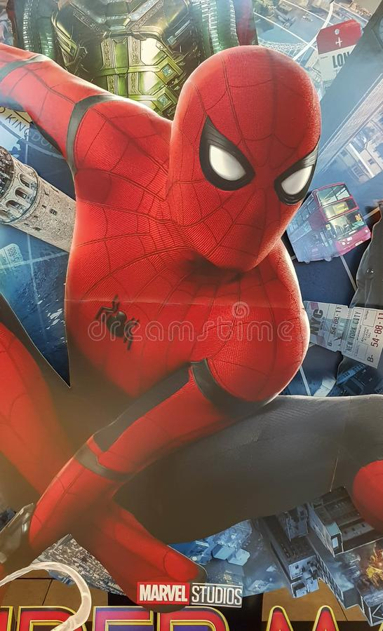 Spider-man Far From Home movie poster, This movie featuring Spiderman versus Mysterio. KUALA LUMPUR, MALAYSIA - JULY 4, 2019: Spider-man Far From Home movie stock image