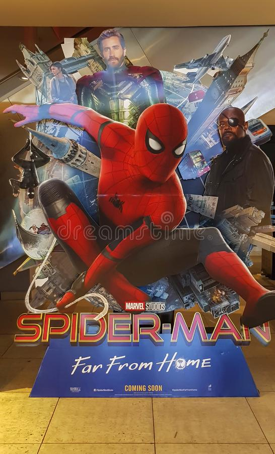 Spider-man Far From Home movie poster, This movie featuring Spiderman versus Mysterio. KUALA LUMPUR, MALAYSIA - JULY 4, 2019: Spider-man Far From Home movie stock photo