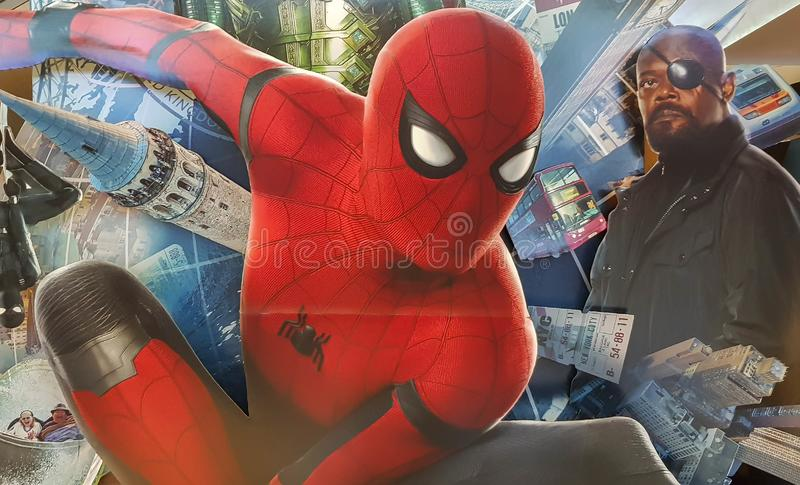 Spider-man Far From Home movie poster, This movie featuring Spiderman versus Mysterio. KUALA LUMPUR, MALAYSIA - JULY 4, 2019: Spider-man Far From Home movie stock photos