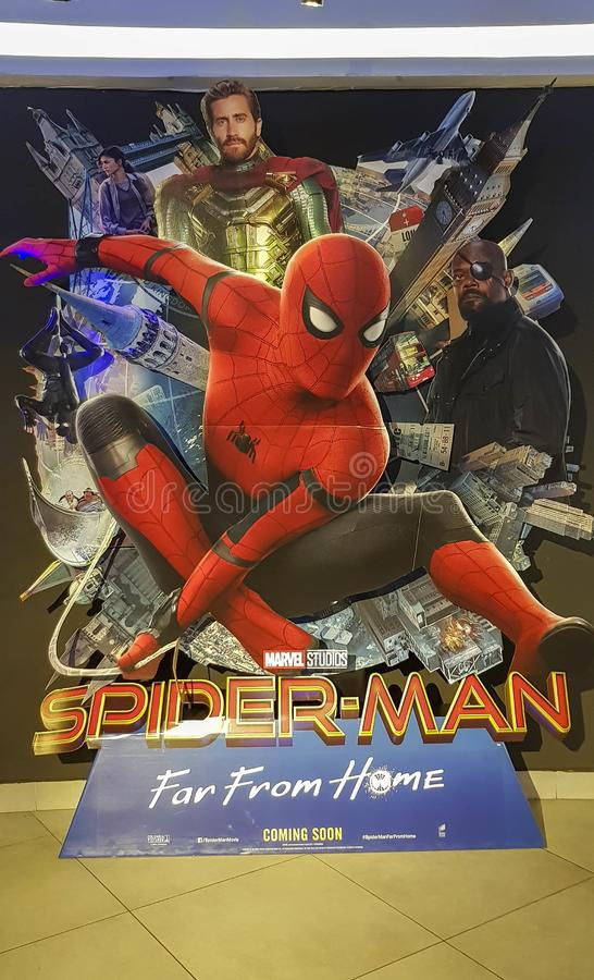 Spider-man Far From Home movie poster, This movie featuring Spiderman versus Mysterio. KUALA LUMPUR, MALAYSIA - JULY 6, 2019: Spider-man Far From Home movie stock photos