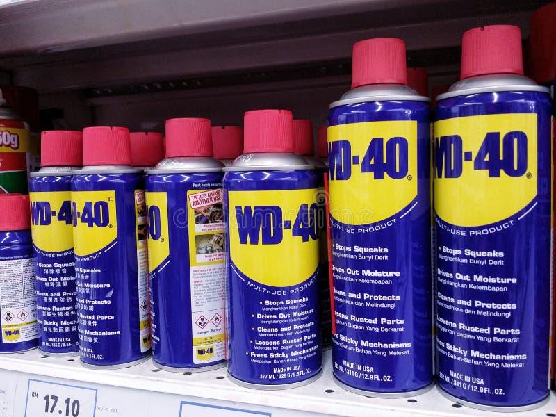KUALA LUMPUR, MALAYSIA - 20. MAI 2017: Produkt WD-40 auf einem Supermarktgang lizenzfreie stockfotos