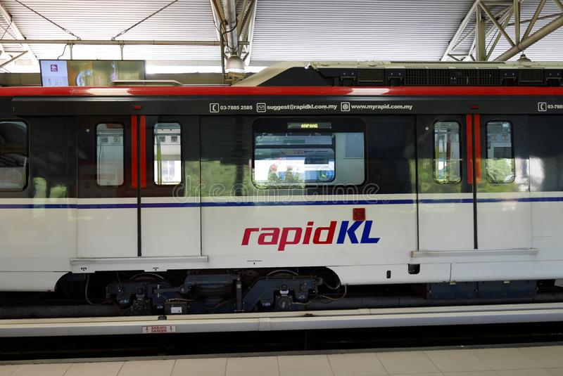 KUALA LUMPUR,MALAYSIA - MARCH 4TH,2018 : LRT train at one of the station.LRT or light rapid transit is a fully automated. stock image