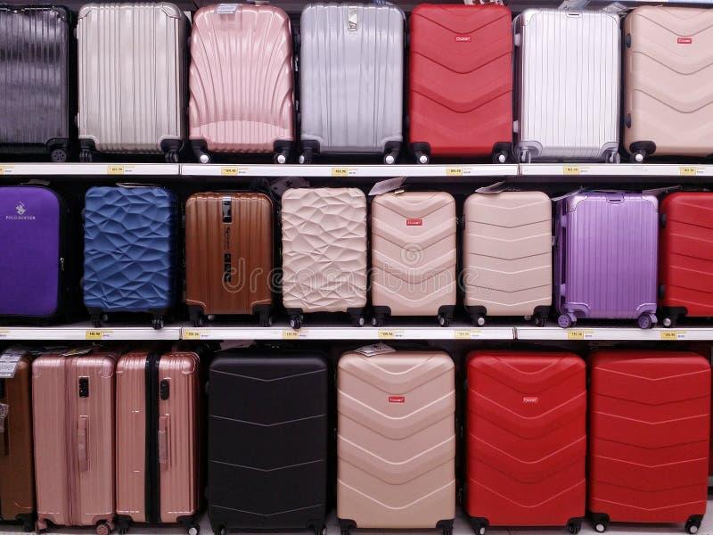KUALA LUMPUR, MALAYSIA - MAY 20, 2017 : Variety color of luggage bag at supermarket.  stock photography