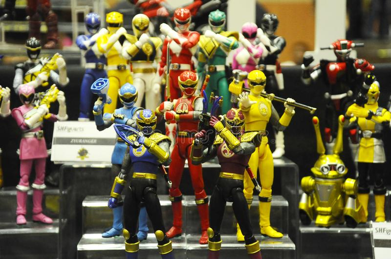 Selected focused of fictional character action figure from American kids TV series Power Rangers. KUALA LUMPUR, MALAYSIA -OCTOBER 6, 2018: Selected focused of stock images