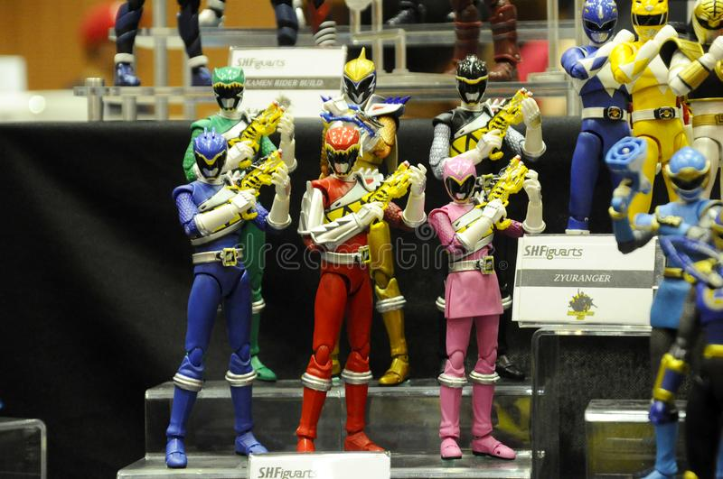 Selected focused of fictional character action figure from American kids TV series Power Rangers. KUALA LUMPUR, MALAYSIA -OCTOBER 6, 2018: Selected focused of stock photo