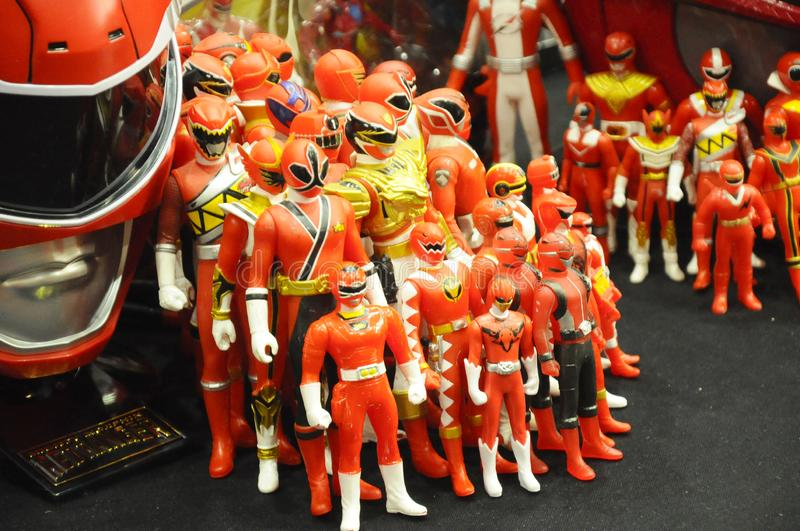 Selected focused of fictional character action figure from American kids TV series Power Rangers. KUALA LUMPUR, MALAYSIA -OCTOBER 6, 2018: Selected focused of royalty free stock image