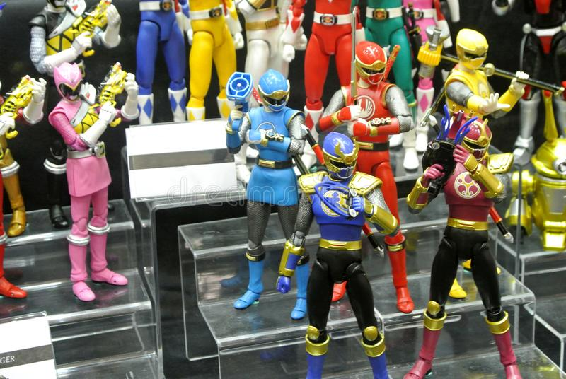 Selected focused of fictional character action figure from American kids TV series Power Rangers. KUALA LUMPUR, MALAYSIA -OCTOBER 6, 2018: Selected focused of royalty free stock photo