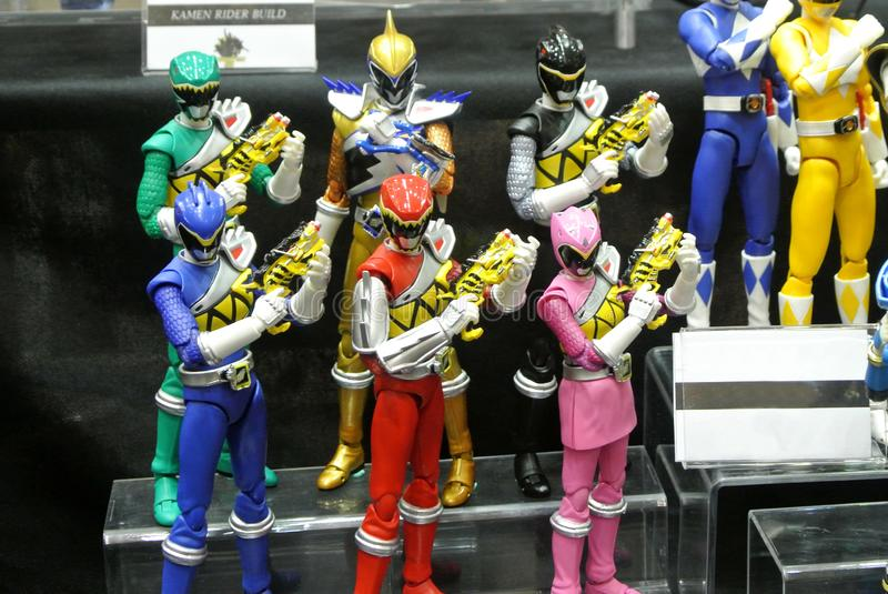 Selected focused of fictional character action figure from American kids TV series Power Rangers. KUALA LUMPUR, MALAYSIA -OCTOBER 6, 2018: Selected focused of royalty free stock photography