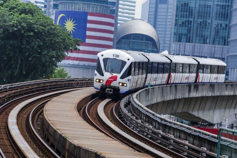 Malaysia LRT train. KUALA LUMPUR, MALAYSIA - SEPTEMBER 12, 2017 : Malaysia Light Railway Transit LRT train operated by Rapid Rail or service brand RapidKL royalty free stock photos
