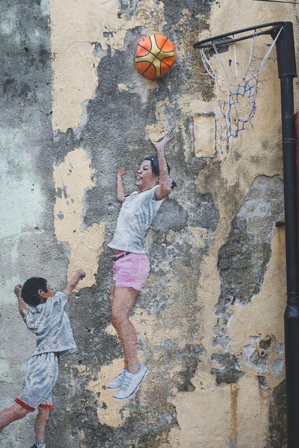 Penang Street wall Art. Kuala Lumpur, Malaysia - September 14, 2018 : Penang Street wall Art taken at Armenian Street, George Town, Penang Malaysia royalty free stock photography