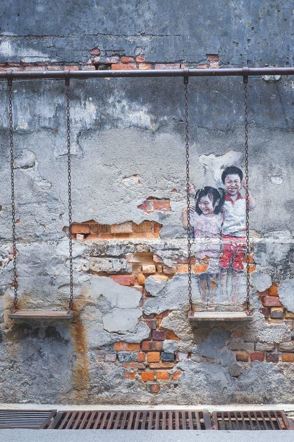 Penang Street wall Art royalty free stock photo
