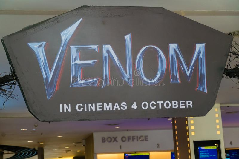 Venom. KUALA LUMPUR, MALAYSIA - SEPTEMBER 29, 2018: Venom movie poster, this movie is about Eddie Brock acquires the powers of a symbiote, and become Venom stock photo