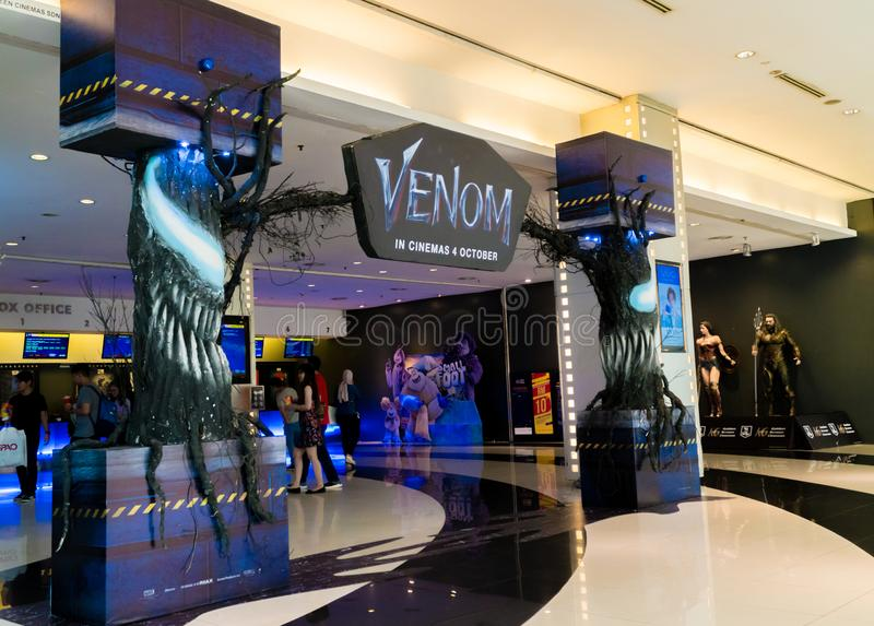 Venom. KUALA LUMPUR, MALAYSIA - SEPTEMBER 29, 2018: Venom movie poster, this movie is about Eddie Brock acquires the powers of a symbiote, and become Venom stock photos