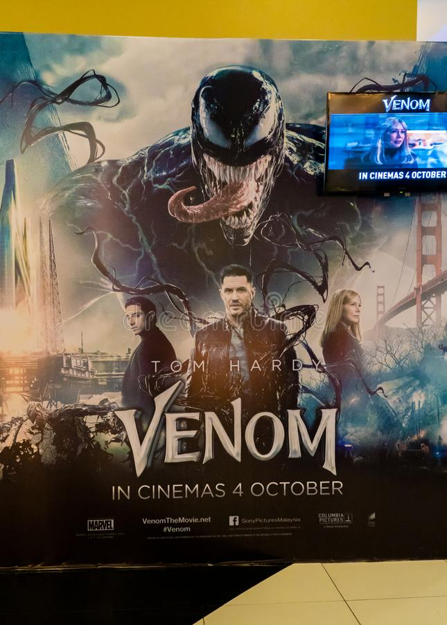 Venom. KUALA LUMPUR, MALAYSIA - SEPTEMBER 29, 2018: Venom movie poster, this movie is about Eddie Brock acquires the powers of a symbiote, and become Venom stock photography