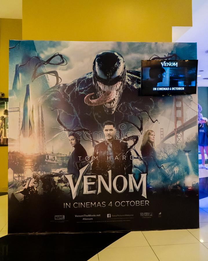 Venom. KUALA LUMPUR, MALAYSIA - SEPTEMBER 29, 2018: Venom movie poster, this movie is about Eddie Brock acquires the powers of a symbiote, and become Venom royalty free stock image
