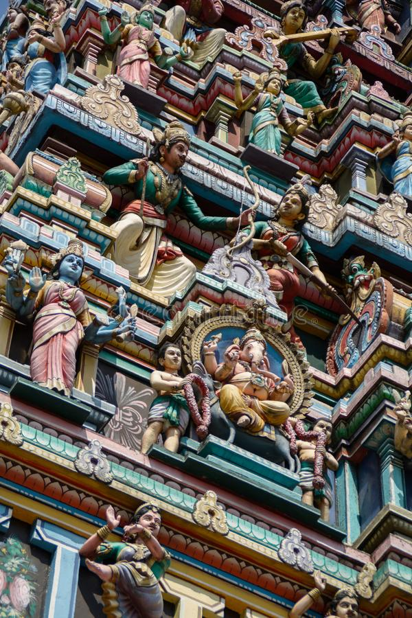 Kuala Lumpur Malaysia - Srien Maha Mariamman Temple Dhevasthanam, hinduisk tempel i kineskvarter arkivfoto