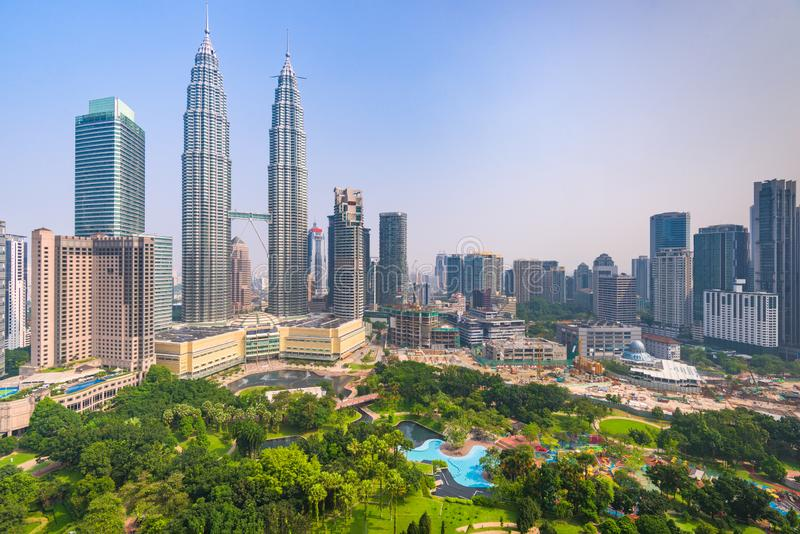 Kuala Lumpur, Malaysia-Stadtzentrumskyline lizenzfreie stockfotografie