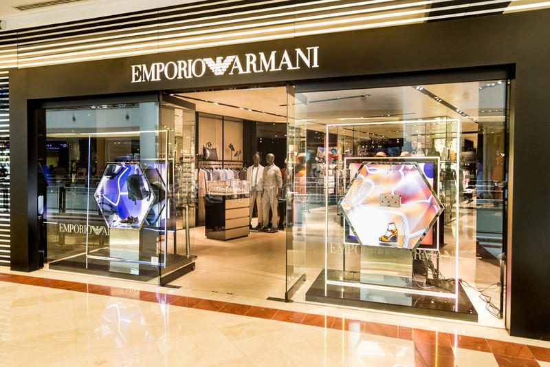 KUALA LUMPUR, MALEISIË, 20 Mei, 2016: Een afzet i van Emporio Armani royalty-vrije stock fotografie
