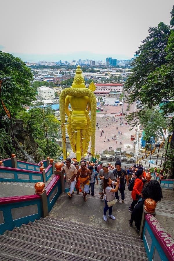 Kuala Lumpur Malezja, Marzec, - 9, 2017: Światowa ` s wysoka statua Murugan, Hinduski bóstwo w Batu Zawala się bardzo, obrazy royalty free
