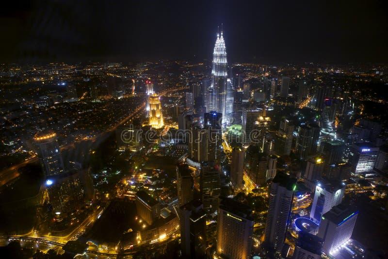 Kuala Lumpur nattscape arkivfoton
