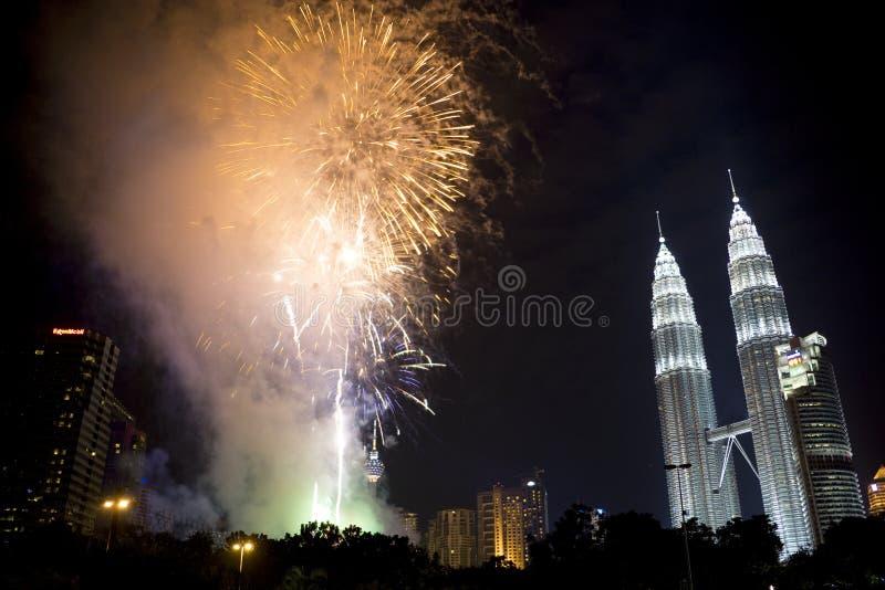 Kuala Lumpur New Year Fireworks Display royalty free stock photo