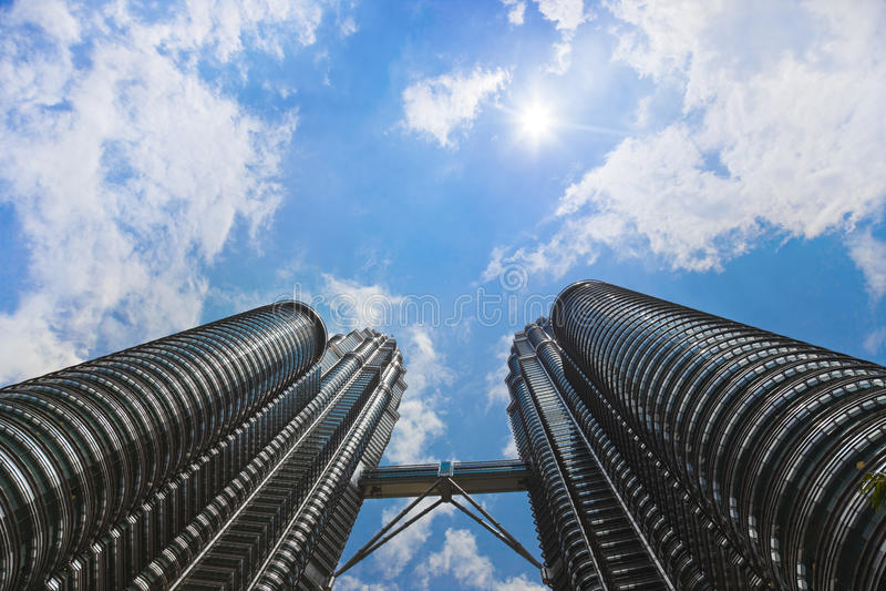 kuala Lumpur nieba słońce góruje bliźniaka zdjęcia stock