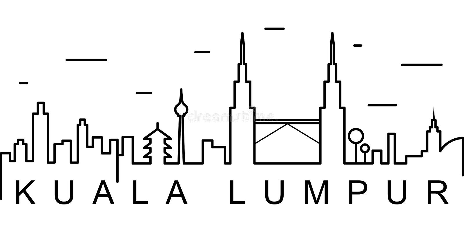 Kuala Lumpur outline icon. Can be used for web, logo, mobile app, UI, UX vector illustration
