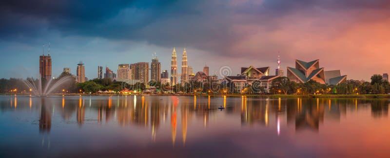 Kuala Lumpur Panorama. Panoramic image of Kuala Lumpur, Malaysia skyline during sunset stock image