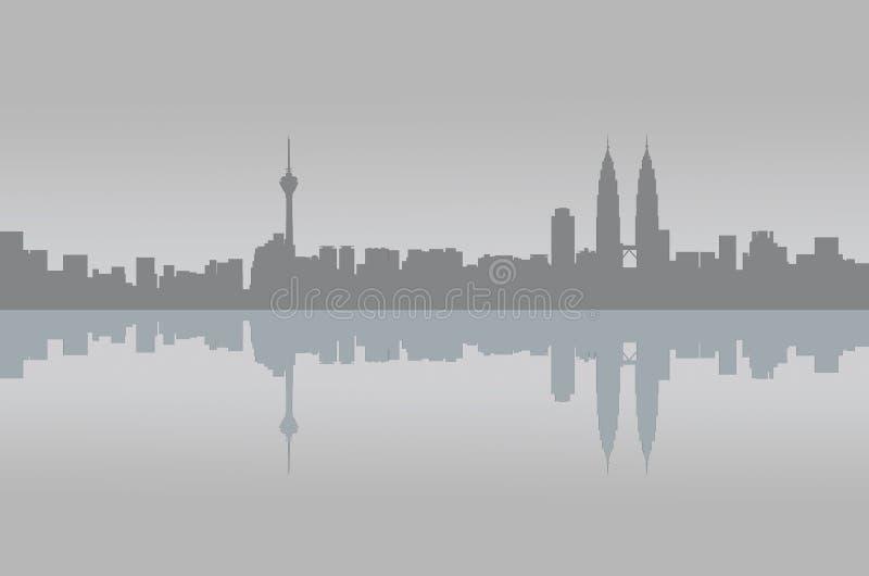Kuala Lumpur-Panoramagraphikreflexion stockfoto