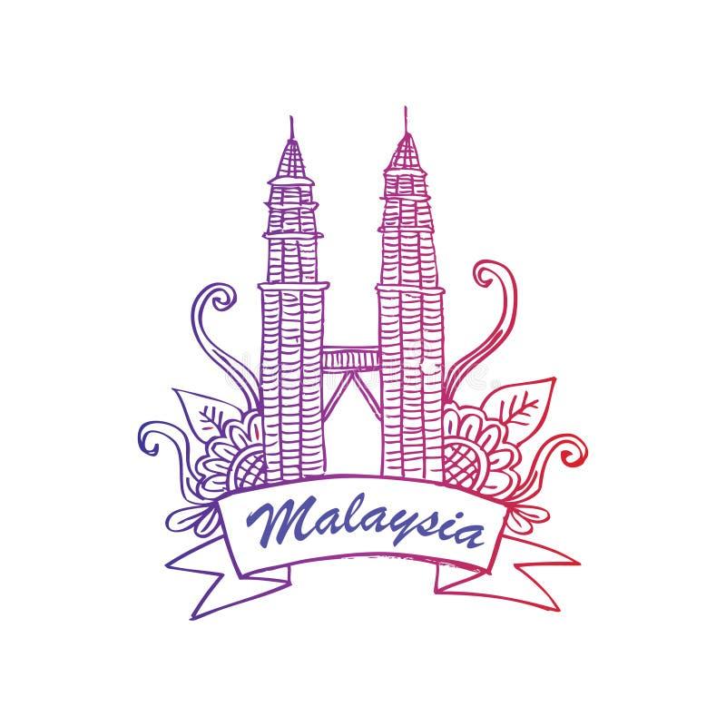 kuala Lumpur Petronas góruje Szkicowy styl ilustracja wektor