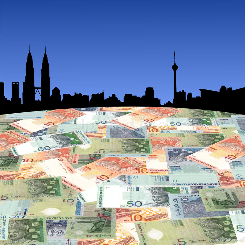 Kuala Lumpur with Ringgit stock illustration