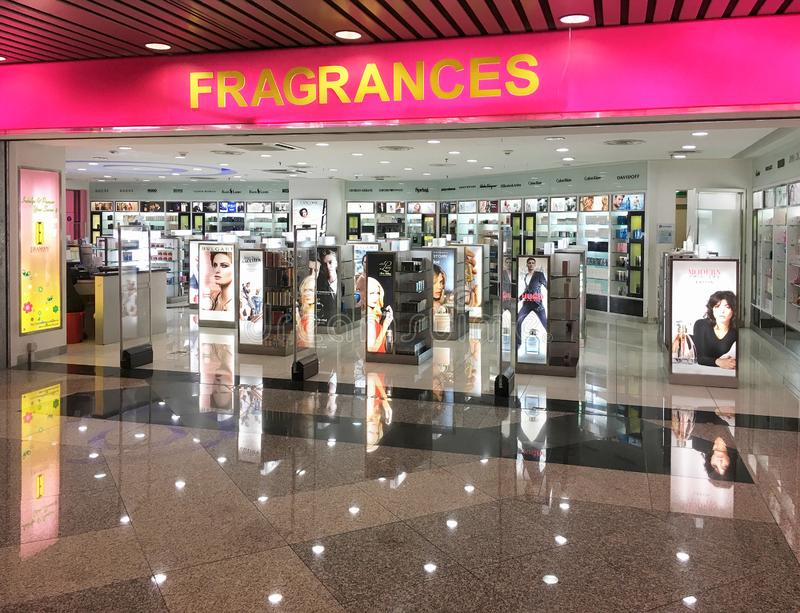 Fragrances store in Kuala Lumpur International airport. KUALA LUMPUR - SEPTEMBER 11, 2017: Fragrances store of high end perfumes at the departure area of the stock photography