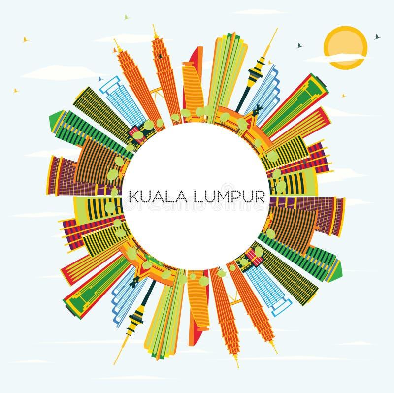 Kuala Lumpur Skyline con los edificios del color, el cielo azul y el balneario de la copia stock de ilustración