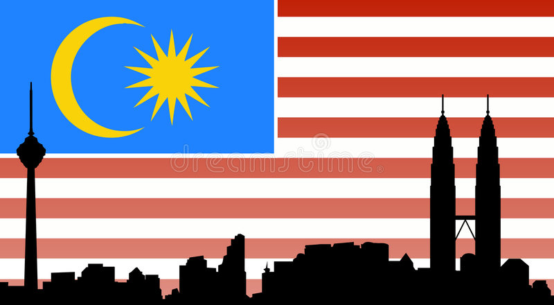 Kuala lumpur skyline with flag. Vectored illustration of the city and capital of malaysia, kuala lumpur, with most famous buildings and landmarks as the city stock illustration