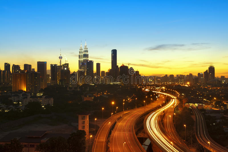 Kuala Lumpur skymning arkivbilder