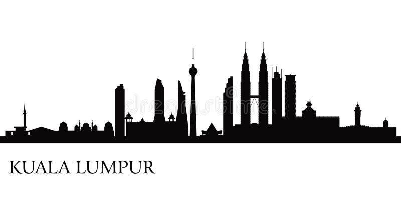 Kuala Lumpur stadshorisont stock illustrationer