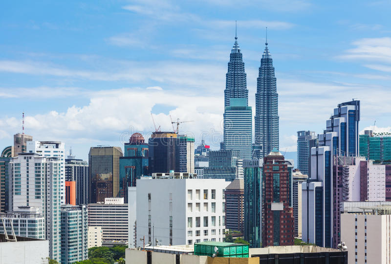 Kuala Lumpur-stadshorizon royalty-vrije stock afbeeldingen