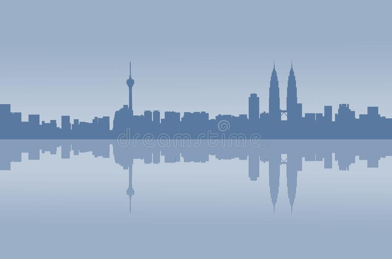 Kuala Lumpur-Stadtgraphikreflexion lizenzfreie stockfotografie