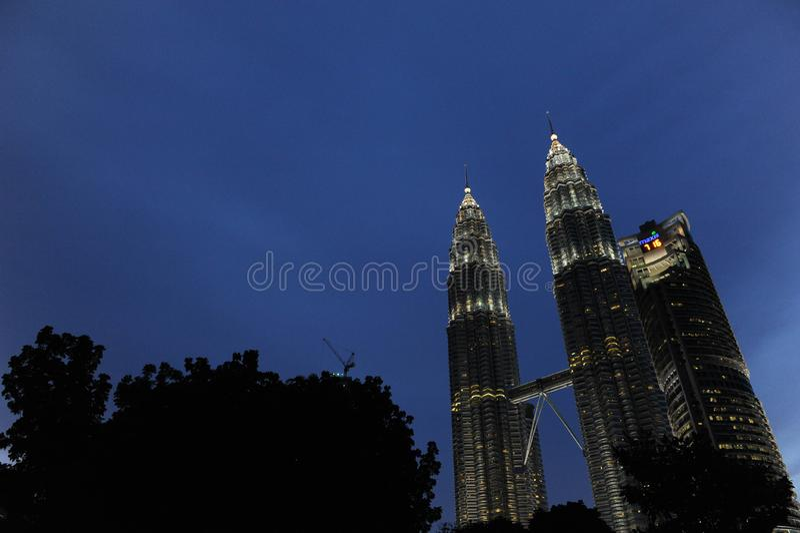 Kuala Lumpur Twin Tower, Kuala Lumpur Malaysia la nuit images stock