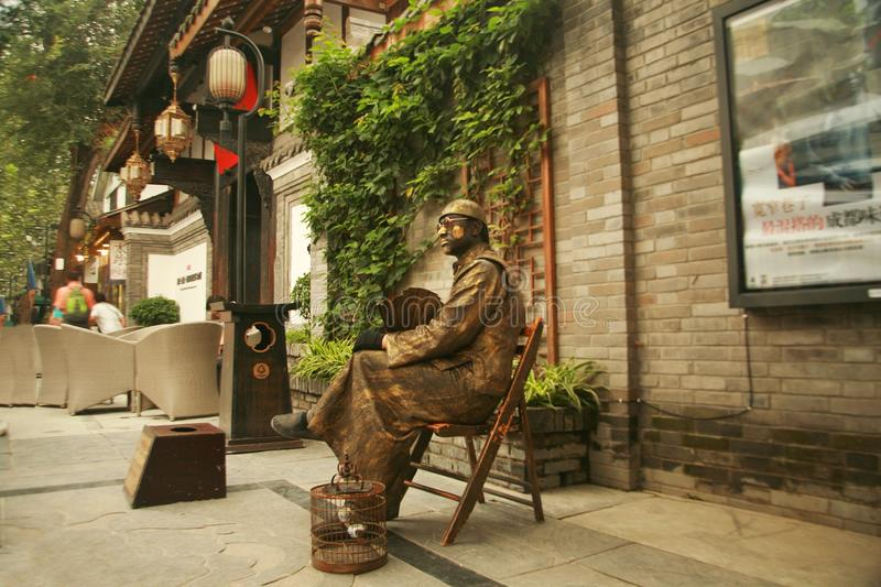 Kuan Alley and Zhai Alley in Chengdu. Kuan Alley and Zhai Alley is located in the Qingyang District, Chengdu, Sichuan Province, near the long Shun Street stock photo