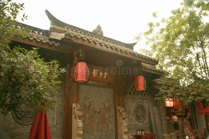 Kuan Alley and Zhai Alley in Chengdu. Kuan Alley and Zhai Alley is located in the Qingyang District, Chengdu, Sichuan Province, near the long Shun Street stock images