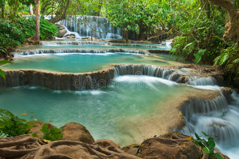 kuang老挝luang prabang si瀑布 免版税图库摄影