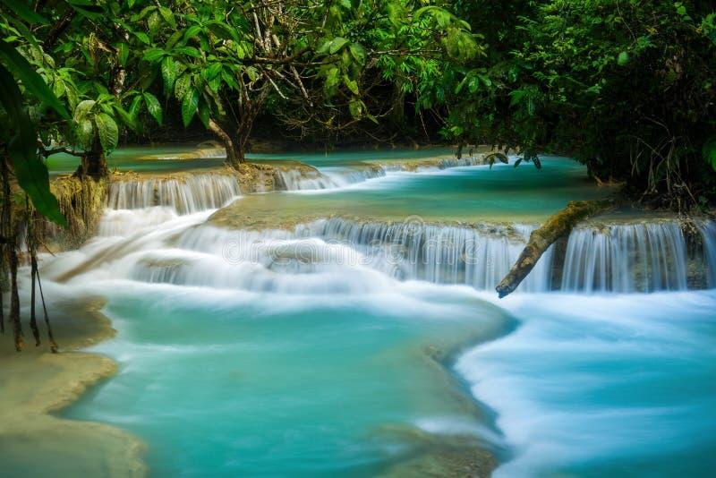 Kuang Si Waterfall en el prabang de Luang, LAOS imagen de archivo