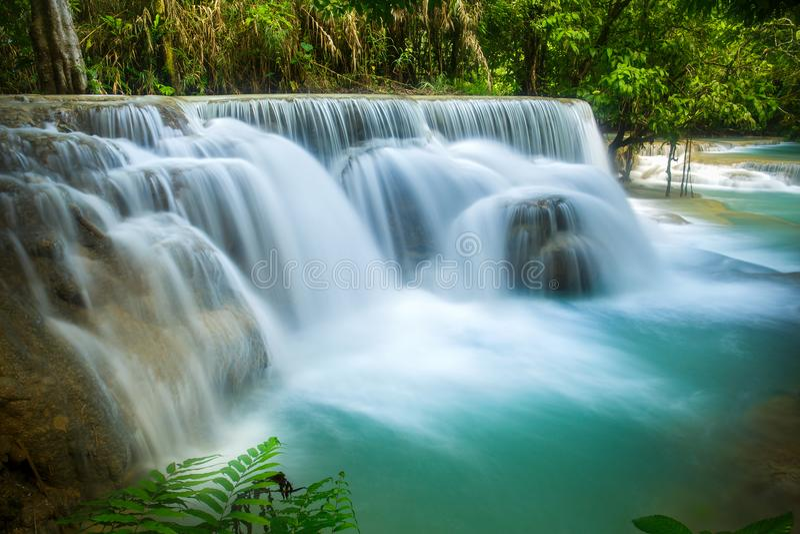 Kuang Si Waterfall en el prabang de Luang, LAOS foto de archivo